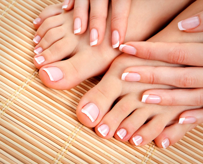 French manicured fingers and toes